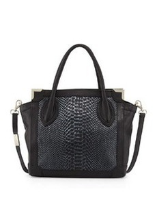 Foley + Corinna Framed Mini Leather Shopper Bag, Noir/Snake