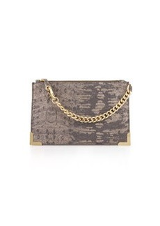 Foley + Corinna Framed Printed-Leather Wristlet, Metallic Lizard