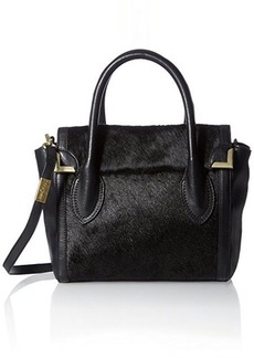 Foley + Corinna Frankie Flap Satchel Top Handle Bag, Black Hair Calf, One Size