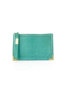 Foley + Corinna Genesis Snake-Embossed Leather Clutch Bag