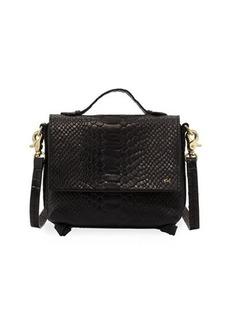 Foley + Corinna Gigi Snake-Embossed Leather Flap Crossbody Bag