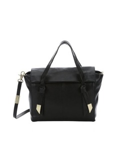 Foley + Corinna jet black leather 'Trillion' flap front convertible satchel