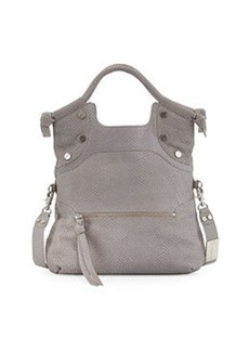 Foley + Corinna Lady Medium Foldover Lizard-Embossed Satchel, Ash Gray