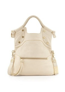 Foley + Corinna Lady Pebbled Leather Medium Satchel, Ecru