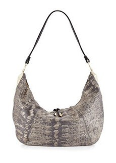 Foley + Corinna Lilou Lizard-Embossed Leather Slouchy Hobo Bag, Metallic Lizard