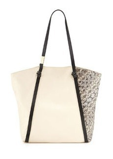Foley + Corinna Ramble Snake-Embossed Leather Tote, Ecru/Combo