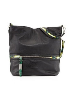 Foley + Corinna Rider Pebbled Leather Hobo Bag, Black/Combo