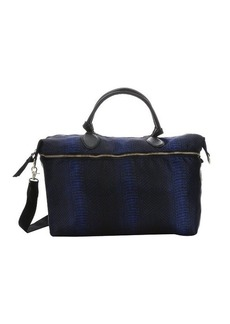 Foley + Corinna sapphire snake print leather trimmed nylon 'Marquise' weekender bag