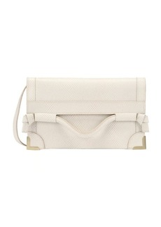 Foley + Corinna shell snake embossed leather framed flap convertible crossbody