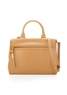 Foley + Corinna Sherry Front-Zip Leather Satchel Bag, Nude