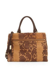 Foley + Corinna Sherry Front-Zip Leather Satchel Bag, Tawny Snake