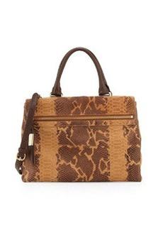Foley + Corinna Sherry Front-Zip Leather Satchel Bag, Tawny Snake