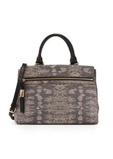 Foley + Corinna Sherry Lizard-Embossed Leather Satchel Bag, Metallic Lizard