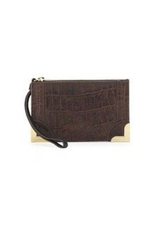 Foley + Corinna Small Croc-Embossed Leather Wristlet Pouch, Brownie