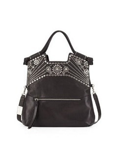 Foley + Corinna Sunburst Mid City Large Foldover Tote, Black