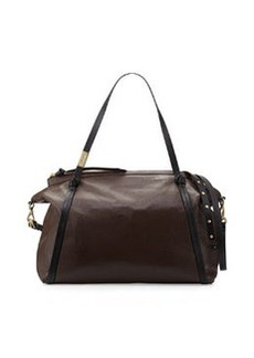 Foley + Corinna Tight Rope Leather Satchel Bag, Dark Brown Combo