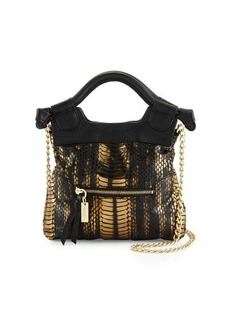 Foley + Corinna Tiny City Snake-Embossed Leather Crossbody Bag