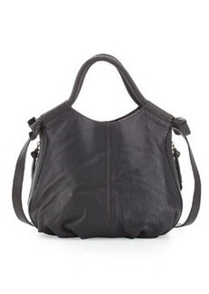 Foley + Corinna Trapeze Side-Zip Leather Satchel Bag, Charcoal