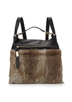 Foley + Corinna Trifecta Fur Trim Hobo Backpack, Natural