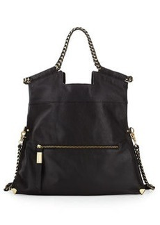 Foley + Corinna Unchained City Fold-Over Leather Tote Bag, Black