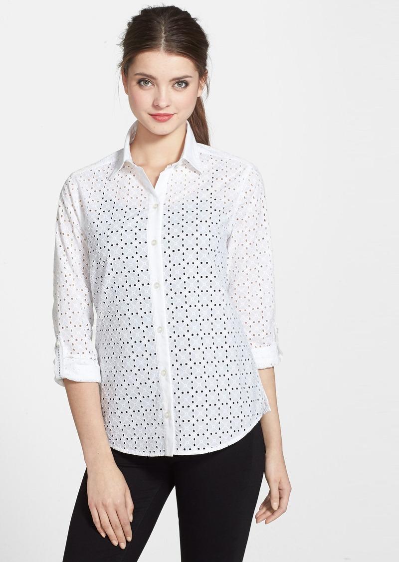 Foxcroft foxcroft eyelet cotton roll sleeve shirt regular for Mens eyelet collar dress shirts