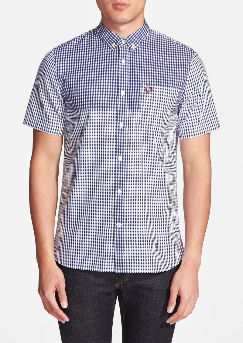 fred perry fred perry extra trim fit short sleeve gingham sport shirt casual shirts shop it. Black Bedroom Furniture Sets. Home Design Ideas