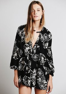 Floral Foil Print Swing Tunic