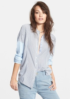 Free People 'Cape Town' Colorblock Stripe Button Front Blouse