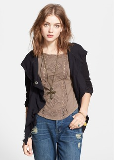 Free People 'Clementine' Lace Inset Asymmetric Hoodie