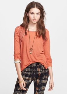 Free People Crochet Insert Lace Up Tee