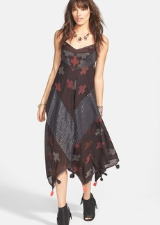 Free People 'Crossing Paths' Tassel Trim Embroidered Handkerchief Hem Dress