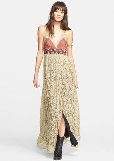 Free People Crushed Gold Lace Dress