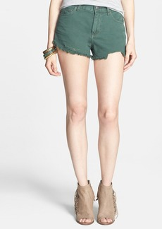 Free People 'Dolphin' Cutoff Denim Shorts (Hunter Green)