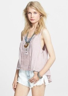 Free People Embroidered Cotton High/Low Tank