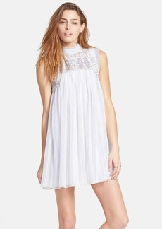 Free People Embroidered Yoke Print Babydoll Dress