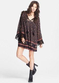 Free People Floral Print Butterfly Sleeve Cotton Dress