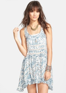 Free People Floral Print Lace Trim Trapeze Slipdress