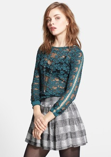 Free People Floral Textured Sheer Pullover