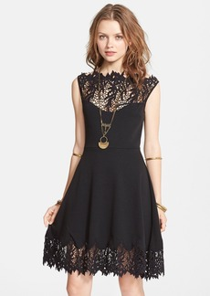 Free People 'Forget Me Not' Crochet Trim Fit & Flare Dress