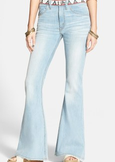 Free People 'Isabelle' Woven Waist Flare Jeans (Isabelle Blue)