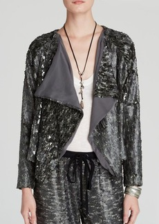 Free People Jacket - Draped Silver Sequin