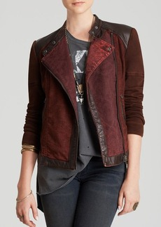Free People Jacket - Pieced Faux Leather Moto