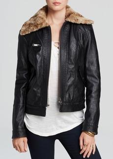 Free People Jacket - Vintage Rumpled Faux Leather Aviator