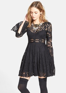 Free People 'Lace Lovers Folk Song' Bell Sleeve Cutout Skater Dress