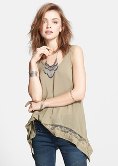 Free People Lace Trim Handkerchief Hem Tank