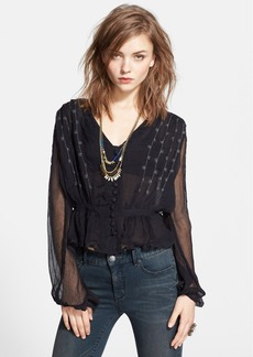 Free People 'Midnight Shimmer' Embroidered Blouse