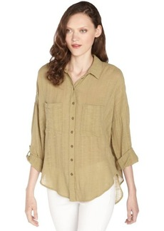 Free People moss green cotton 'Shibor' button front blouse