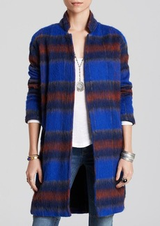 Free People Overcoat - Plaid Long and Lean