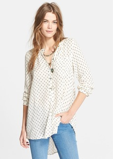 Free People Print Boyfriend Blouse