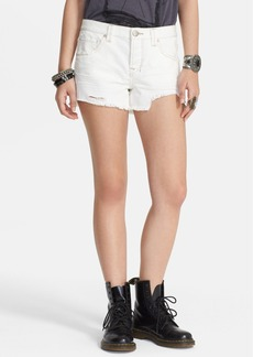 Free People 'Shark Bite' Denim Cutoff Shorts (Polar White)